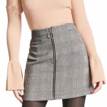 Jantens Sexy black white check skirt female short pencil skirt zipper front female 2018 summer mini skirt