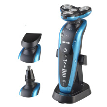 Kemei 3 in 1 washable electric shaver 4 blade 3D men