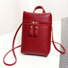 [LESHP]Candy Color Fashion Women PU Crossbody Bag Casual Female Single Shoulder Red