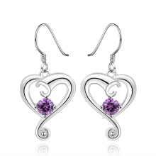 SESIBI Charms Heart Mosaic Purple Zircon Dangle Earrings Romantic Hollowed Style For Women's Fashion -One Size -Purple Crystal