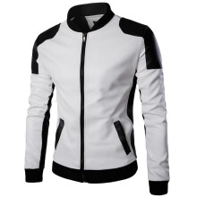 AOWOFS Trend black and white color matching collar leather men's leather jacket