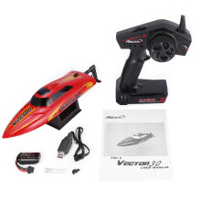 [kingstore] 795-3 30km/h 2.4G RC High Speed Racing Boat Ship Water Cooling Self-righting Red