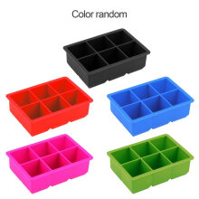 [kingstore] 6-Cavity Large Silicone Drink Ice Cube Pudding Jelly Soap Mold Mould Tray Tool Multicolor