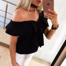 Jantens 2018 Summer Women's  New Off Shoulder Blouse Casual Button Butterfly Tops
