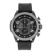 Expedition E 6763 MC LEPBA Chronograph Men Black Dial Black Leather Strap [EXF-6763-MCLEPBA]