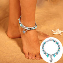 Farfi Boho Double Layer Beaded Starfish Turtle Charm Turquoise Chain Ankle Bracelet Silver