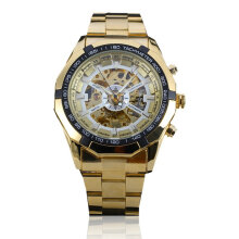 Forsining Waterproof Automatic Mechanical Watch with Skeleton Dial for Men Gold Dial Gold Band