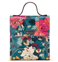 Sakroots Flap Lunch Bag Teal Flower Power