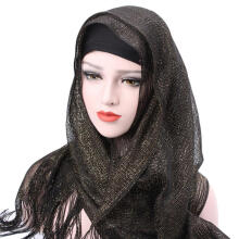 Farfi Women's Glitter Plain Tassels Hijab Muslim Islamic Head Scarf Long Shawl