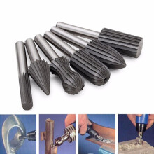Drillpro 6pcs 6mm Shank Bearing Steel Engraving Grinding Bit Rotary Bur File Rasp Bit For Rotary Tools