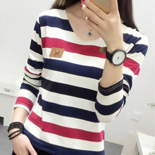 Autumn Women Casual Loose Slim Long Sleeved Stripe V-neck Bottoming T-Shirt blue & red M