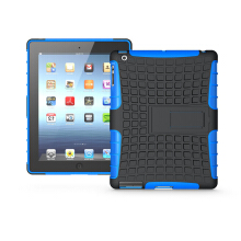 RockWolf iPad 2/3/4 case TPU anti-fall tire pattern back clip bracket flat shell
