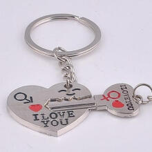 Farfi 2Pcs/Set Couple Heart Key I Love You Letter Carved Matching Keychain Key Ring