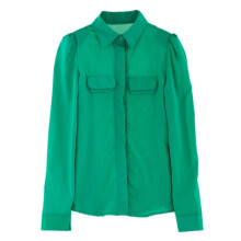 WEDO  Shirt GREEN M Solid Color Puff Sleeves Shirt Neck Polyester Refreshing Style Women's Shirt Long-sleeved Shirt