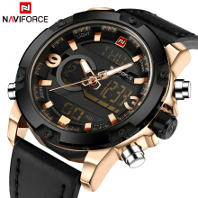 NAVIFORCE 9097 Luxury Brand Men Analog Digital Leather Sports Watches Men's Army Military Watch Man Quartz Clock Rose Gold