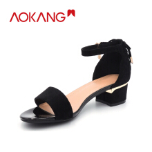 Aokang women sandals summer r Shoes Woman Buckle Strap ladies Dangles sandals