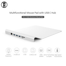 WH Multifunctional Aluminum Alloy Mouse Pad with 3 USB 3.0 Ports,With RJ45 Gigabit Ethernet,SD & TF for New Macbook Pro,Notebook