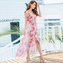 Allgood Fashion Summer Bohemian women dress Lady Print Floral Split Chiffon V-neck Shoulder Strapless Maxi Holiday Dress