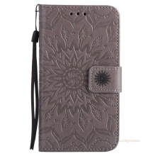 Sannic Samsung Galaxy j510 Phone Case Sun Flower PU Leather Casing Emboss Flip PU Leather Stand Cover Cases