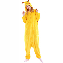 SESIBI S~XL Women Man Flannel Cartoon Lingerie Animal Siamese Pajamas Couples Home Clothes -Pikachu -