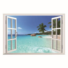 Farfi Window Ocean Beach View Pattern Removable Wall Sticker Home Decor as the pictures