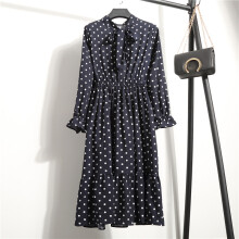 Jantens Summer and autumn chiffon print dress casual dress long sleeve