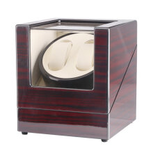 TAIYU 2 Slots Lacquer Wood Electric Watch Winder Display Box Silent Motor Wine Red   US plug