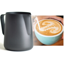 KCASA KC-BKM03 350mL Thick Stainless Steel Expresso Mug Measuring Kitchen Craft Coffee Frothing Milk Latte Art Jug Kitchen Tools Gadgets Cup -Black