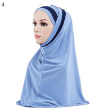 Farfi Double Color Splicing Women Scarf Muslim Hijab Head Wrap Headscarf