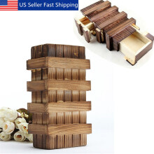US Magic Compartment Wooden Puzzle Box Secret Drawer Brain Teaser Kid Toys Gift