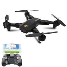 VISUO XS809HW WIFI FPV With Wide Angle HD Camera High Hold Mode Foldable Arm RC Drone Quadcopter RTF 3 Batteries Black