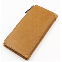 Fashionmall Men's Vintage Card Holders Cash Purse With Zipper Genuine Leather Bifold Wallet For Men