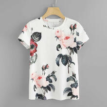 Fashion Women Casual Flower Print Tee Short Sleeve T-shirt O-Neck Tops Blouse