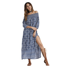 CAUSEY Europe and the United States word shoulder dress print strapless fashion sexy dress