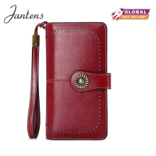 Jantens hot lady clutch new wallet ladies zipper wallet ladies handbag wallet wine Red