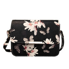 [LESHP]Korean Style Summer Ladies Shoulder Bag Flowers Pattern Large Capacity Black