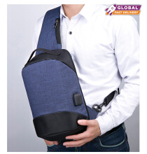 KINO SL2 Sling Bag Bodypack Anti Maling Anti Air USB / Handsfree Tas Selempang Pria - Grey / Black / Blue
