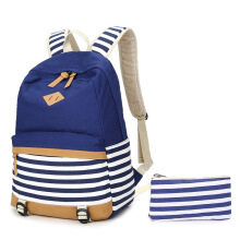 Keness Stripe color student backpack Korean navy bag canvas bag shoulder bag female