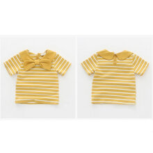[OUTAD] Girls Navy Stripe Short Sleeve T-Shirt Baby Boy Bow Cotton Tops Kids Yellow 120cm