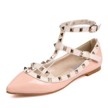 Jantens New Fashion Casual Women Pointed Toe Rivet Flat Bottom Shoes Women Slip On Valentine Flats Candy Color sandals