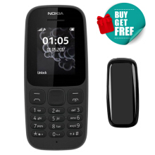 Nokia 105 [2017] TA-1037 Dual SIM Only 2G Dual-Band (850/1900) Factory Unlocked Mobile Phone with 1 Free Case