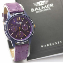Balmer B8116L-H545D36UNGL Chronograph Leather Strap JAm Tangan Wanita Ungu Gold Purple