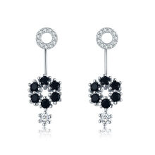 【Global Top Mall】Hitam Awn S925 Sterling Silver Earrings High-end temperamen mode hot anting Pejantan Anting I029