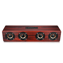 W8 Bluetooth Speaker Wireless Stereo Player Wooden Design   Red