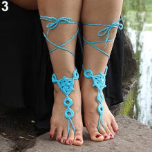 Farfi 1 Pair Summer Barefoot Sandals Crochet Jewelry Cotton Bracelet Foot Ankle Anklet