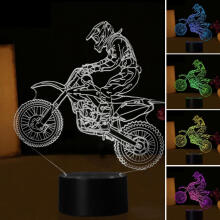 Farfi Novelty 3D Motorcycle 7 Colors Changing LED USB Touch Night Light Bedside Lamp as the pictures