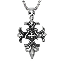 SESIBI Punk Style Men Necklaces Titanium Stainless Retro Cross Flowers Skull Pendant Chain Male Collar -Silver -One Size