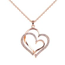 Farfi Double Love Heart Rhinestone Necklace