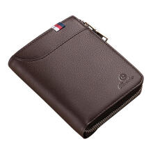 Zanzea Men Black Coffee Zipper Leather Wallet Card Holder Coin Bag with External Card Slot