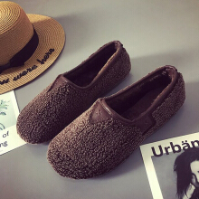 Soft Curly Plush Slip On Warm Loafers For Women Coffee 36